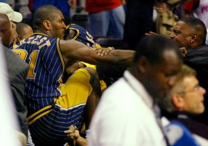 Ron Artest punches a fan.